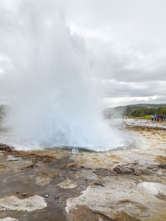 outdoor scenery: outdoor scenery including a geyser seen in Iceland Stock Photo