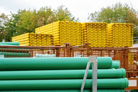 material: tubes and other building materials Stock Photo