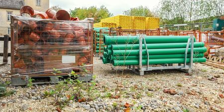 plastic conduit: tubes and other building materials Stock Photo