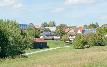 sustained: rural scenery including a small village named Rueblingen in sunny ambiance at summer time