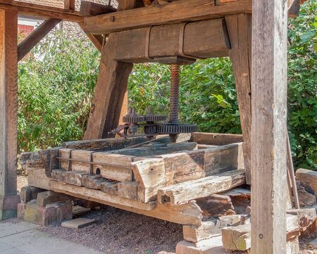 winepress: historic wooden winepress seen in Riquewihr, a town in Alsace, France