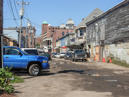 rundown: rundown city scenery seen in Portland, Maine (USA)