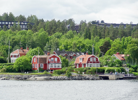 riparian: waterside scenery around Stockholm in Sweden Stock Photo