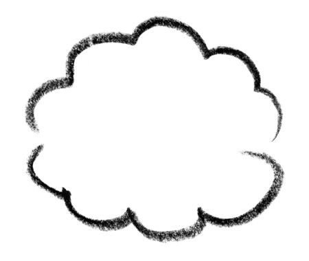 gruff: crayon-sketched cloud shape in white back Stock Photo
