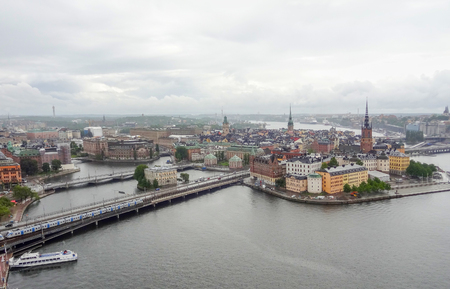 urbanized: aerial view of Stockholm in Sweden