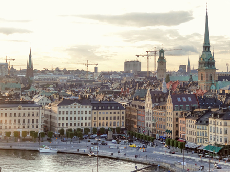 urbanized: aerial view of Stockholm in Sweden at evening time Stock Photo