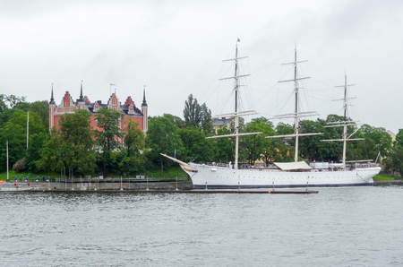 waterside: waterside scenery with sailing ship seen in Stockholm, Sweden Stock Photo