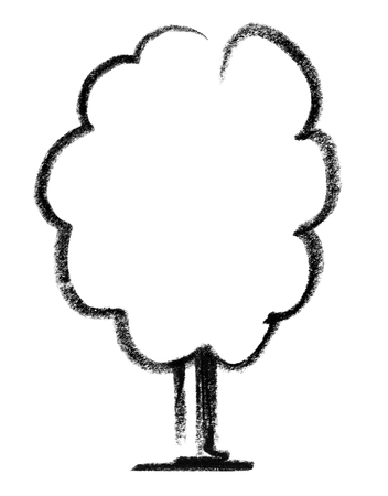eye catcher: crayon-painted tree icon in white back