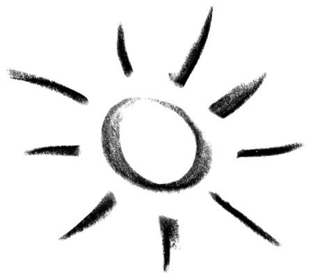 starlike: crayon painted sun or light symbol in white back
