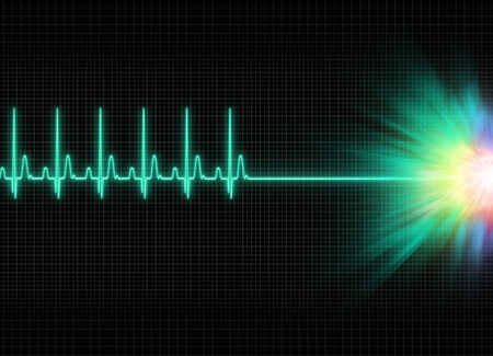 afterlife: a mystic electrocardiography exitus illustration in dark screen background