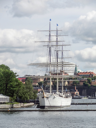 anchoring: sailing ship anchoring in Stockholm, the capital of Sweden
