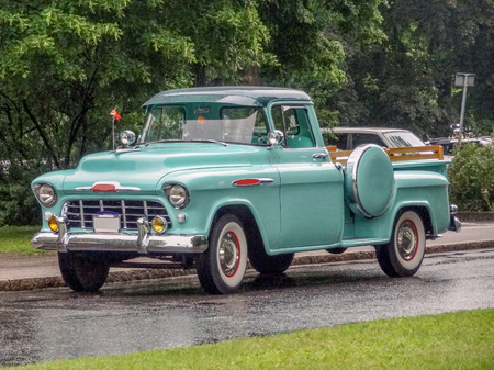 pickup truck: historic pickup truck in wet ambiance