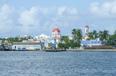 architecture bungalow: waterside scenery around Cienfuegos in Cuba, a island in the Caribbean Sea Stock Photo