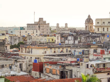 ruinous: aerial view of Havana, the capital city of Cuba at evening time