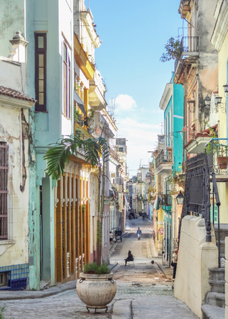 urbanized: urban street scenery seen in Havana, the capital city of Cuba