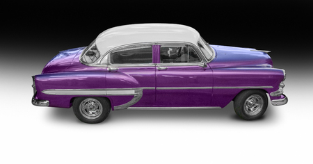 a classic car seen in Cuba, isolated in gradient back with shadow Stock Photo