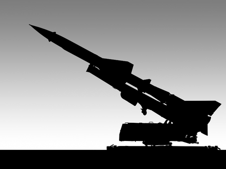 illustration of a missile launcher silhouette in gradient back 版權商用圖片