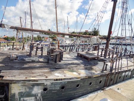 rundown: part of a old, rundown sailing ship seen in Cuba Stock Photo