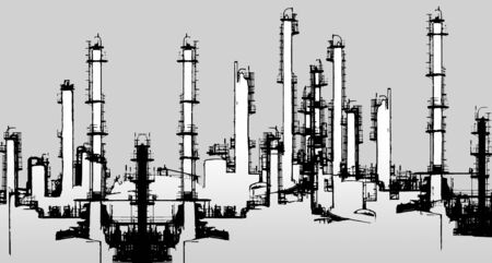 distillation: black and white halftone Oil refinery illustration
