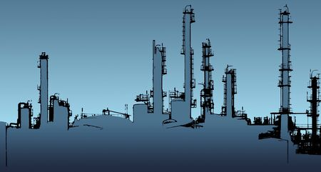 oil refinery: blue toned halftone Oil refinery illustration