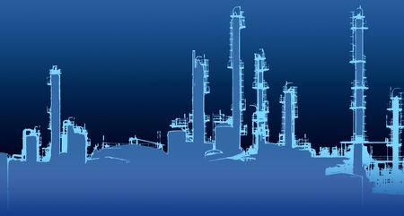 oil crops: blue toned halftone Oil refinery illustration