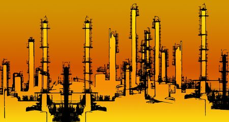 oil refinery: warm toned halftone Oil refinery illustration