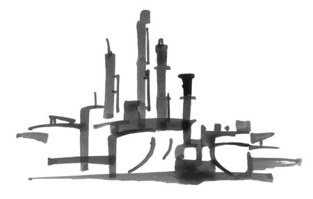 building industry: black and white halftone Oil refinery illustration