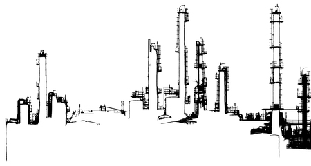oil refinery: black and white halftone Oil refinery illustration