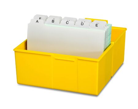 adresses: yellow address storage box in white back Stock Photo