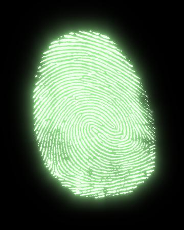 allegory painting: a green glowing fingerprint in black back