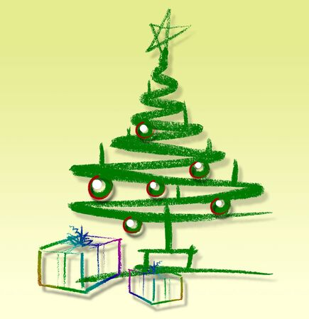 christmas gifts: sketched christmas tree and gifts in light back