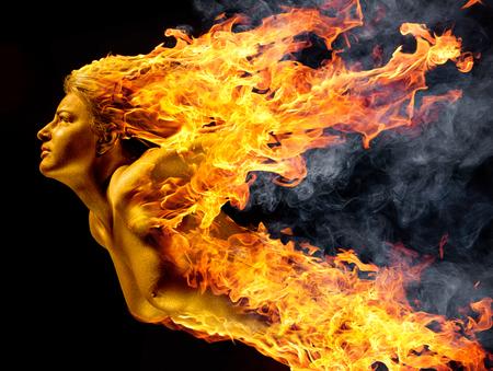 hag: flying flamy woman in black back