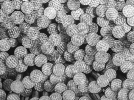 metal fastener: lots of nails seen from above Stock Photo