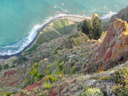 high angle: high angle rocky coastal scenery at a portuguese Island named Madeira