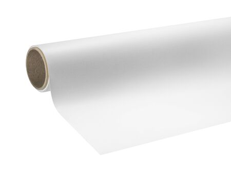 print media: detail of a print media roll for wide-format printers in white back