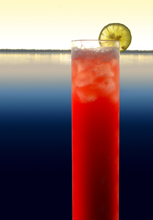longdrink: a red longdrink with slice of lemon in waterside evening ambiance