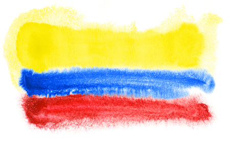 colombian: watercolor illustration of the Colombia flag Stock Photo