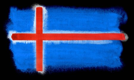 iceland flag: watercolor illustration of the Iceland flag