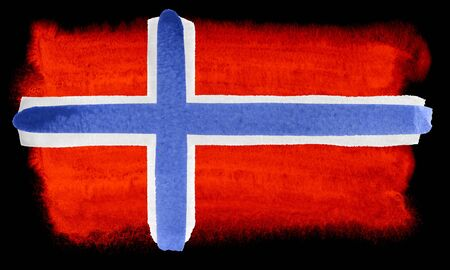 norway flag: watercolor illustration of the Norway flag