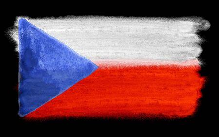 czech republic flag: watercolor illustration of the Czech Republic flag