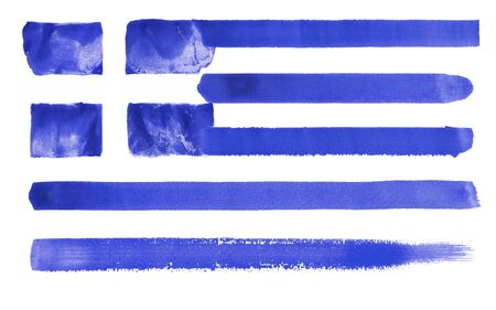 hellenistic: watercolor illustration of the Greece flag