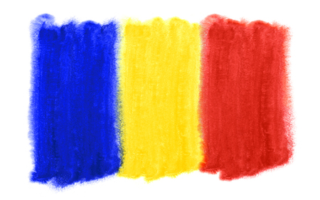 watercolor illustration of the Romania flag Reklamní fotografie