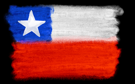 chile flag: watercolor illustration of the Chile flag