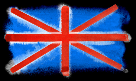 great britain flag: watercolor illustration of the Great Britain flag