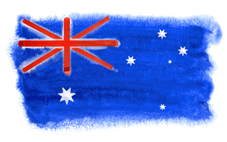 down under: watercolor illustration of the Australia flag Stock Photo