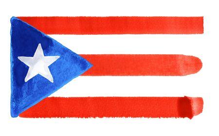 puerto rico: watercolor illustration of the Puerto Rico flag Stock Photo