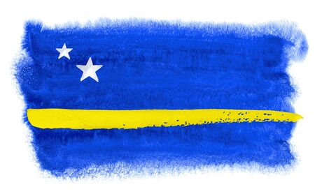 curacao: watercolor illustration of the Curacao flag