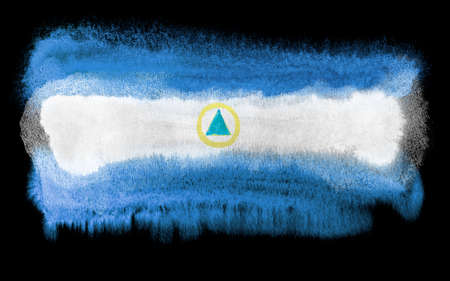 agile: watercolor illustration of the Nicaragua flag Stock Photo