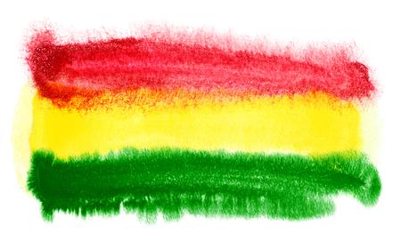 bandera de bolivia: ejemplo de la acuarela de la bandera de Bolivia Foto de archivo