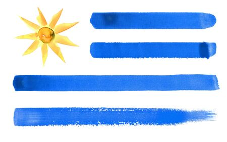 watercolor illustration of the Uruguay flag